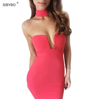 New 2016 Women Party Dress  Summer  Backless White / Black Low Cut Sexy Night Club Dresses Bodycon Bandage Dress Vestidos