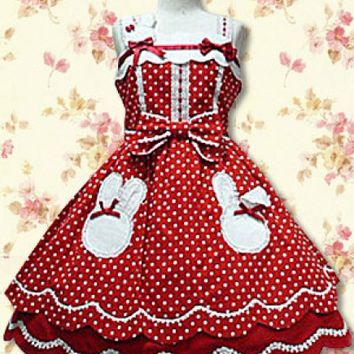 Red Flouncing Straps Cotton Lolita Dress With Bow Style