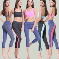 Women Slim Fit Sport Suit Fitness Sportswear Stretch Exercise Yoga  Trousers Pants _ 2158