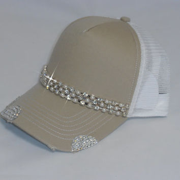Diamonds and pearls bling trucker hat