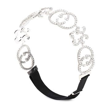 GUCCI fashionable letter flash diamond satin hair band hair accessories personality exaggerated headdress