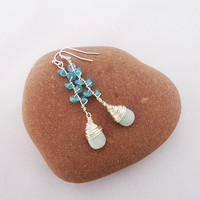 Amazonite and Kyanite Earrings, Wire Wrapped Amazonite and Kyanite Earrings, Wire Wrapped Blue Earrings