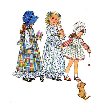"1970's Simplicity 5996 Girl's Holly Hobbie Dress, Pinafore and Bonnet Size 3 || Breast 22""/ 56cm 