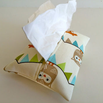Travel Tissue Holder Kleenex Pouch in Critter Bunting