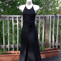 90s NWT Chelsea Nites Black Gown, Small Petite