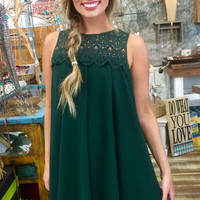 Lace Neck Dress in Hunter Green