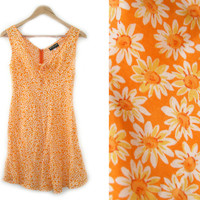 Vintage Floral Dress~Size Small~90s Orange Yellow White Daisy Short Tie Dress~By Morgan De Toi