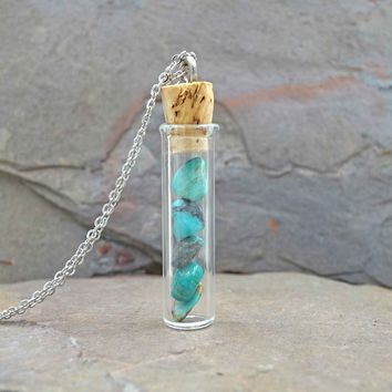 Turquoise Vial Aromatherapy Necklace Essential Oil Diffuser Necklace