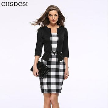 2018 Women New Fashion Autumn Spring Style Faux Two Piece Elegant Plaid Long Sleeve Pencil Dresses Office Wear Work Outfits S122