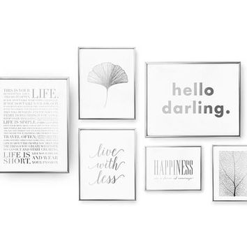 SET of 6 Prints, Live Set, Hello Darling., Inspirational Art, Real Gold Foil Print, Botanical Leaf Pattern, Typography Art, Ginko Leaf Print