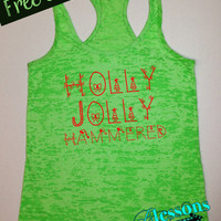 HoLLy JoLLy HaMMeReD. Christmas Tank Top. Funny Christmas Tank. Burnout Tank. Workout Tank. Holiday. Xmas. Fitness Tank. Free Shipping USA