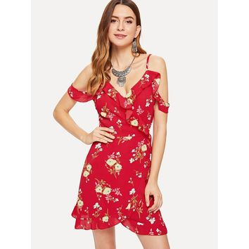 Red Knot Side Floral Print Ruffle Dress