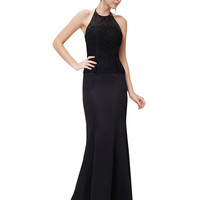 Black Halter Lace Mermaid Maxi Dress