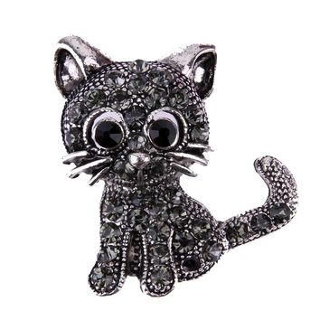 Vintage Black Crystal Cute Cat Brooch Pins 28*31*3mm Women Brooch 2018 Fashion pin up Brooch Accessories