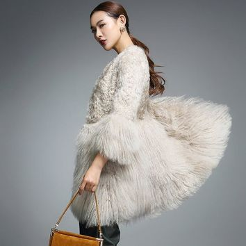 Real Fur Coat for Women Natural Lamb Fur with Mongolia Sheep Fur Coats rf0093B