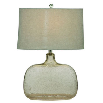 Bassett Mirror L2491T Portman Table Lamp in Clear Seeded Glass