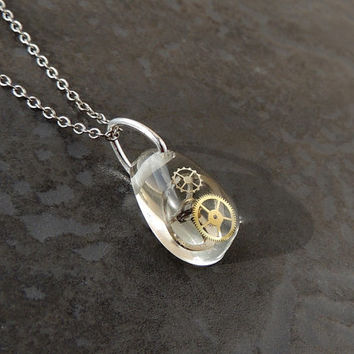 Small Steampunk Necklace, Small Watch Parts in a Resin Pendant, Steampunk Jewelry, Watch Parts Jewelry, Resin Jewelry