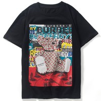 Burberry 2019 new personality fashion men and women round neck half sleeve t-shirt Black