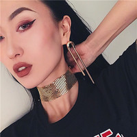 Gold/silver alloy choker necklace for women metal sequin collars punk party
