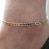 3pcs/lot 18K Gold Plated Women Fashion Charm Cute Lady Personality Bracelet Cool Figaro Chain Anklet Ankle Bracelet SWXFS100