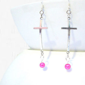 Long Dangle Cross Earrings, Christian Jewelry, Religious Earrings, Spiritual Jewellery, Metal Jewelry, Christian Earrings, Dangle Earrings