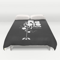 Radiohead song - Last flowers illustration white Duvet Cover by LilaVert | Society6