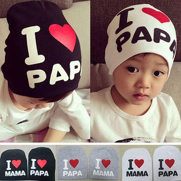 Baby Children's fashion Love Heart Soft Winter Warm Hats Cute Cap Cotton Beanie