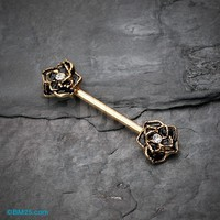 Golden Black Rose Sparkle Nipple Barbell Ring