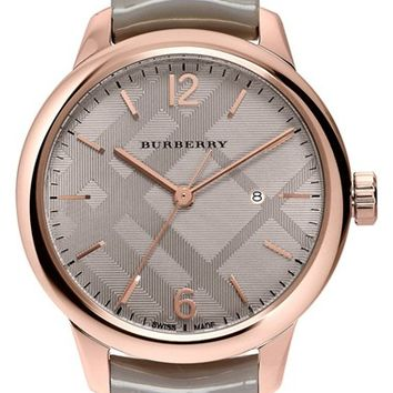 Burberry Check Stamped Patent Leather Strap Watch, 32mm | Nordstrom