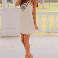 Beaded Tribal Dress, Cream