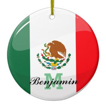 Glossy Round Mexican Flag Round Ceramic Ornament