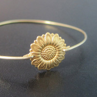 Sunflower Bracelet, Sunflower Jewelry, Gold, Sunflower Bangle, Sun Flower Bracelet, Sun Flower Jewelry, Sunflower Wedding, Sunflower Jewlery