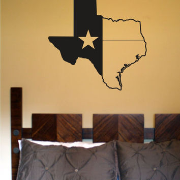 State of Texas Star Vinyl Wall Decal Sticker Decals Stickers