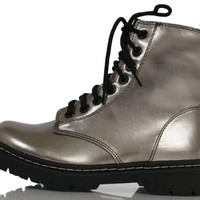 Pewter Faux Leather Patent Lace-Up Military Combat High Ankle Boots Grunge