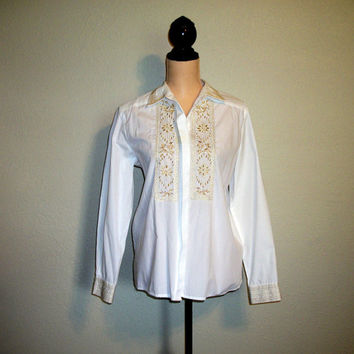 White Blouse Dressy Blouse Size Medium Gold & White Blouse Long Sleeved Blouse Gold Embroidery Button Up Blouse Size Large Womens Clothing