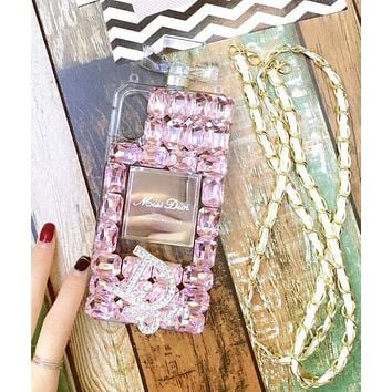 Dior Popular Women Luxury Delicate Crystal Perfume Bottles Mobile Phone Cover Case For iphone 6 6s 6plus 6s-plus 7 7plus 8 8plus X Pink