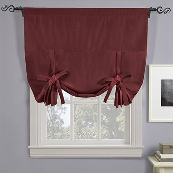 "Soho Triple-Pass Thermal Insulated Blackout Curtain Rod Pocket - Tie Up Shade for Small Window ( 42"" W X 63"" L)"