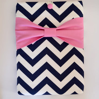 "Macbook Air 11 Sleeve MAC Macbook 11"" inch Laptop Computer Case Cover Navy & White Chevron with Pink Bow"