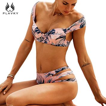 PLAVKY 2018 Sexy Retro Tropical Palm Leaf Floral Off Shoulder Biquini Swim Bathing Suit Swimsuit Swimwear Women Push Up Bikini