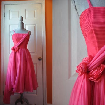 Vintage 1950s dress | pink rose organza 50s party dress • Pink Rose dress