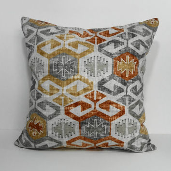 Designer Covington Fabrics Geometric Pillow Cover, Throw Pillow Cover, Grey, Orange, Burnt Orange, Gold, 18 x 18