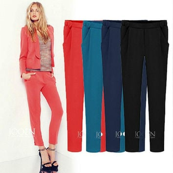 Spring 2016 New Slim Elegant Colorful Women's Pencil Pants Plus size Ladies Causal Harem Pants Trousers Girls Clothing J2511