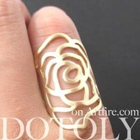 Large Classic Floral Rose Cut Out Shaped Ring in Shiny Gold | DOTOLY
