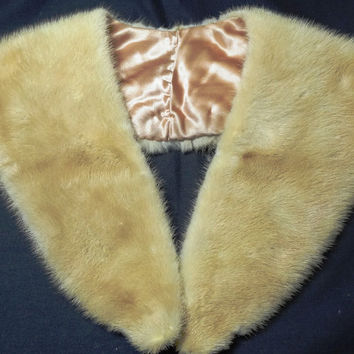 Vintage 1950s or 1960s Blonde Fur Scarf with Satin Lining - 42 Inches Long - May Be Fox