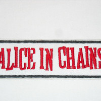 Alice in Chains Patch Iron On Vintage 1990s 90s Grunge Music Band Black Red White Denim Vest Jacket Punk Rock n Roll Rocker Rock and Roll