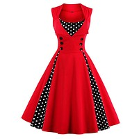 Women 5XL New 50s 60s Retro Vintage Dress Polka Dot Patchwork  Sleeveless Spring Summer Red Dress Rockabilly Swing Party Dress 1