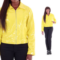 Yellow PVC Jacket Shiny Plastic Vinyl Outerwear Club Kid Rave 80s 90s Vintage Clothing Womens Size Small Medium