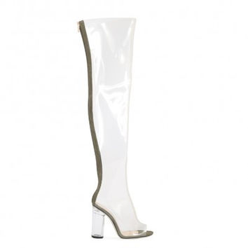 Invisible Thigh Hi Perspex Heel Boots Olive