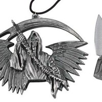 Evil Goth Skeleton Grim Reaper Death Necklace Knife