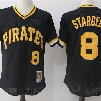 ONETOW Men's Pittsburgh Pirates Willie Stargell Mitchell & Ness Black 1982 Authentic Cooperstown Collection Mesh Batting Practice Jersey